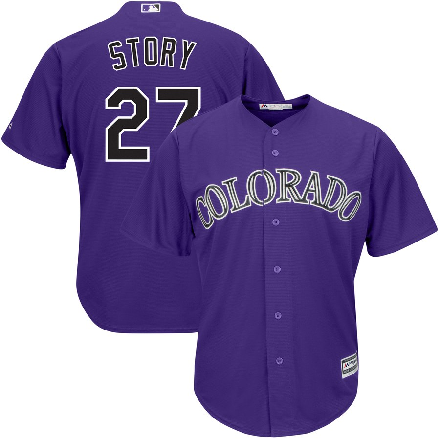 Men's Colorado Rockies #27 Trevor Story Purple Cool Base Stitched MLB Jersey