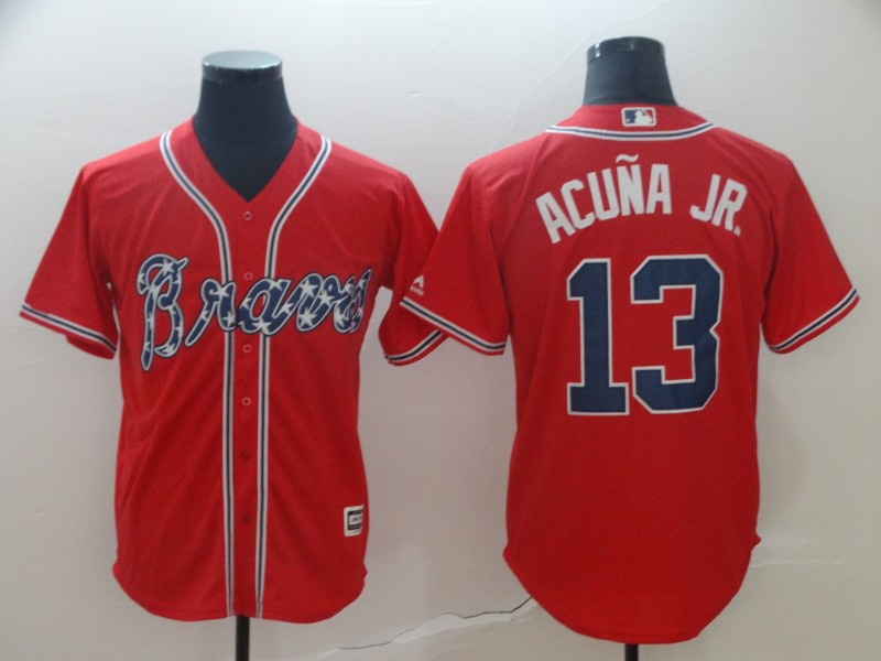 Men's Atlanta Braves #13 Ronald Acuna Red Cool Base Stitched MLB Jersey