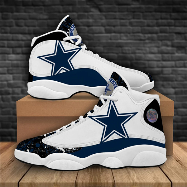 Women's Dallas Cowboys AJ13 Series High Top Leather Sneakers 008