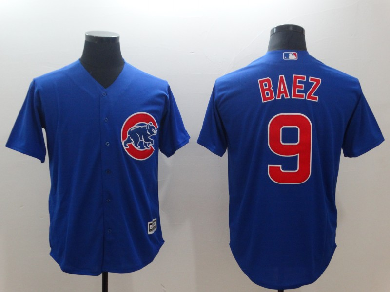 Men's MLB Cubs #9 Javier Baez Royal Throwback Cool Base Stitched Jersey