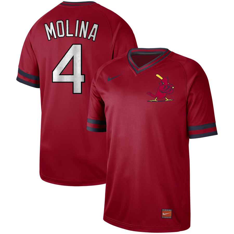Men's St. Louis Cardinals #4 Yadier Molina Cooperstown Collection Legend Stitched MLB Jersey