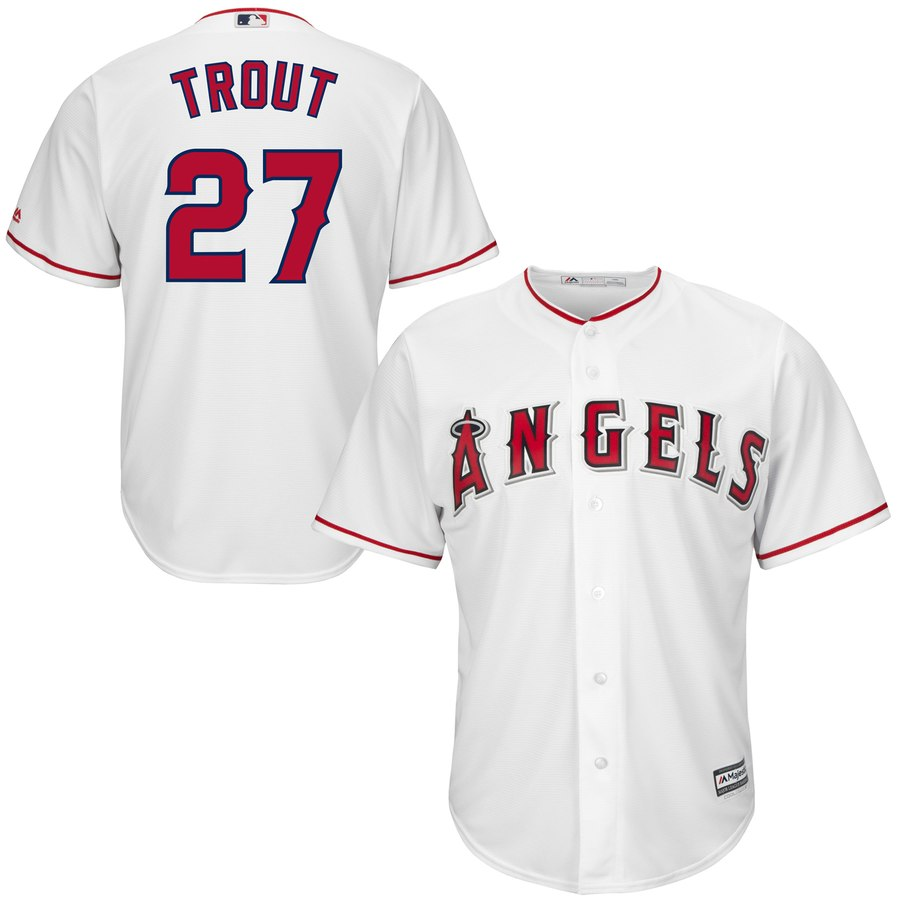 "Men's Los Angeles Angels #27 Mike Trout ""Kiiiiid"" White Cool Base Stitched MLB Jersey"