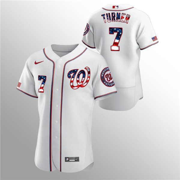 Men's Washington Nationals White #7 Trea Turner 2020 Stars & Stripes Flex Base Stitched MLB Jersey