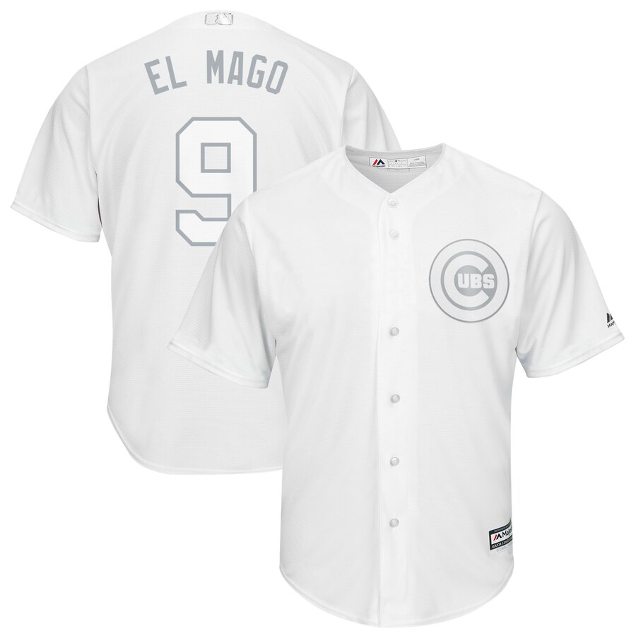 "Men's Chicago Cubs #9 Javier Baez ""El Mago"" Majestic White 2019 Players' Weekend Player Stitched MLB Jersey"