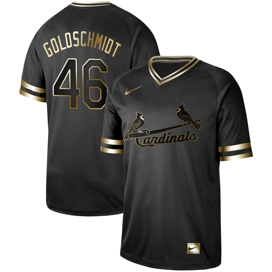 Men's St. Louis Cardinals #46 Paul Goldschmidt Black Gold Stitched MLB Jersey