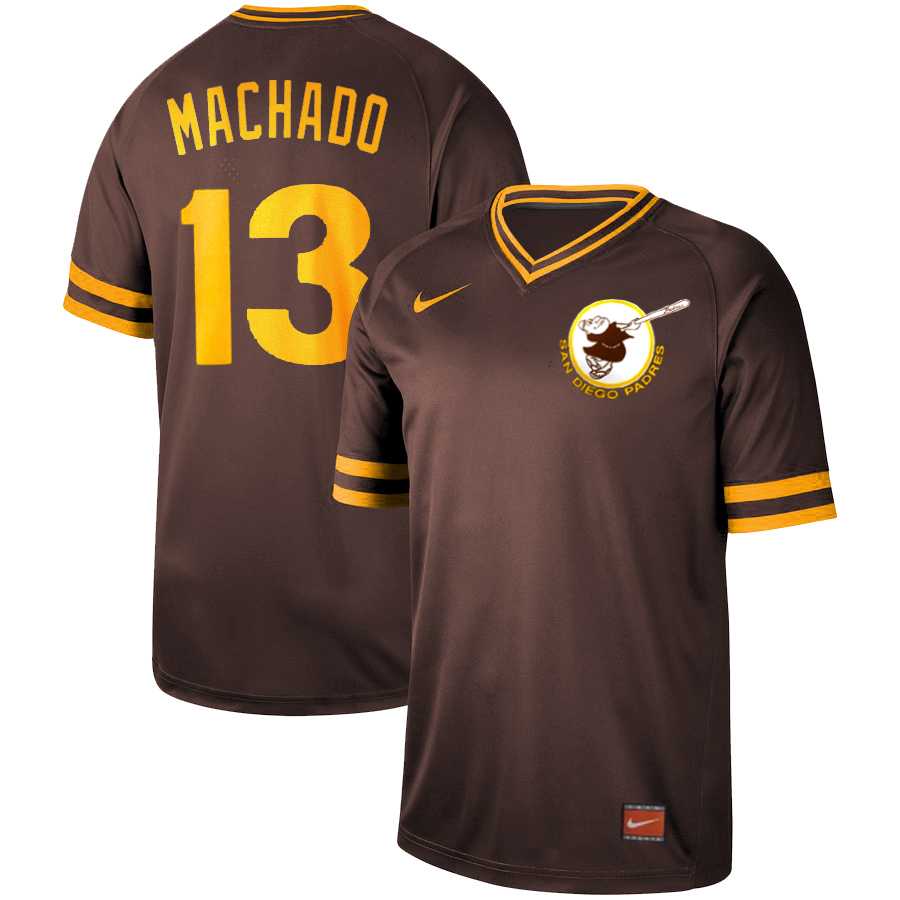Men's San Diego Padres #13 Manny Machado Coffee Cooperstown Collection Legend Stitched MLB Jersey