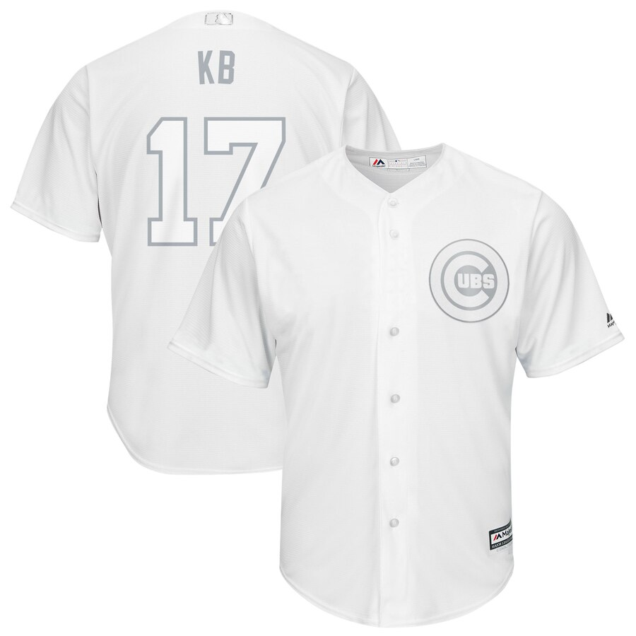 "Men's Chicago Cubs #17 Kris Bryant ""KB"" Majestic White 2019 Players' Weekend Stitched MLB Jersey"