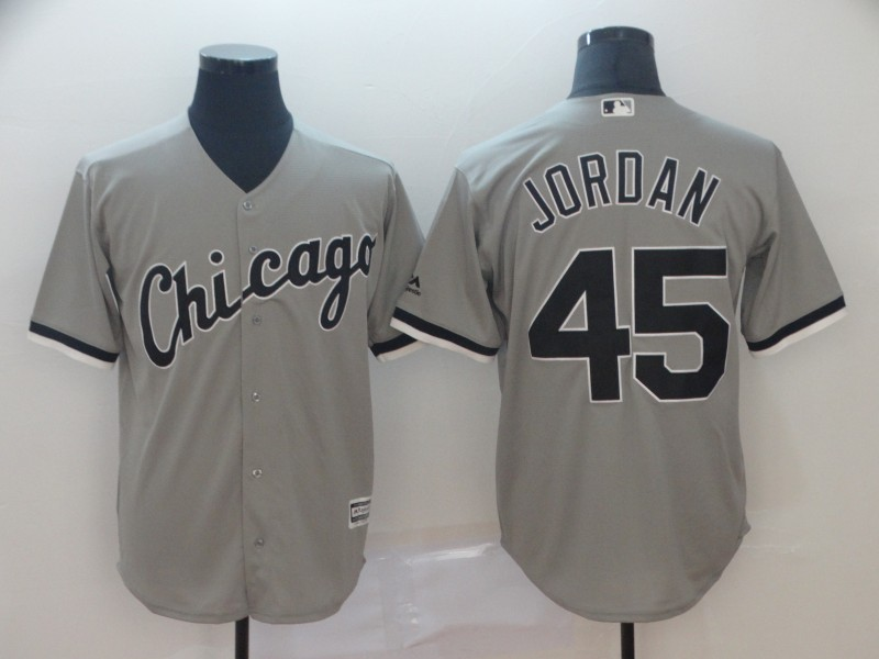 Men's Chicago White Sox Blank #45 Michael Jordan Gray Cool Base Stitched MLB Jersey