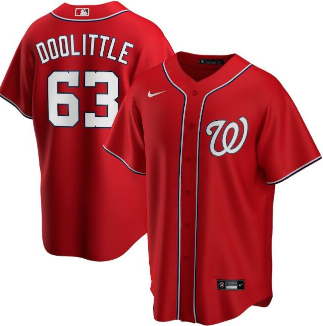 Men's Washington Nationals Red #63 Sean Doolittle Cool Base Stitched MLB Jersey