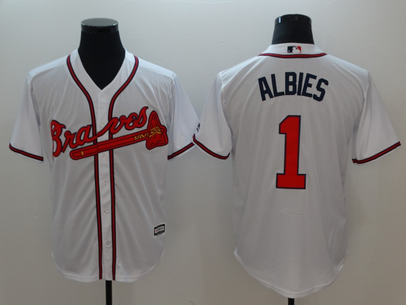 Men's Atlanta Braves #1 Ozhaino Albies White Flexbase Stitched MLB Jersey