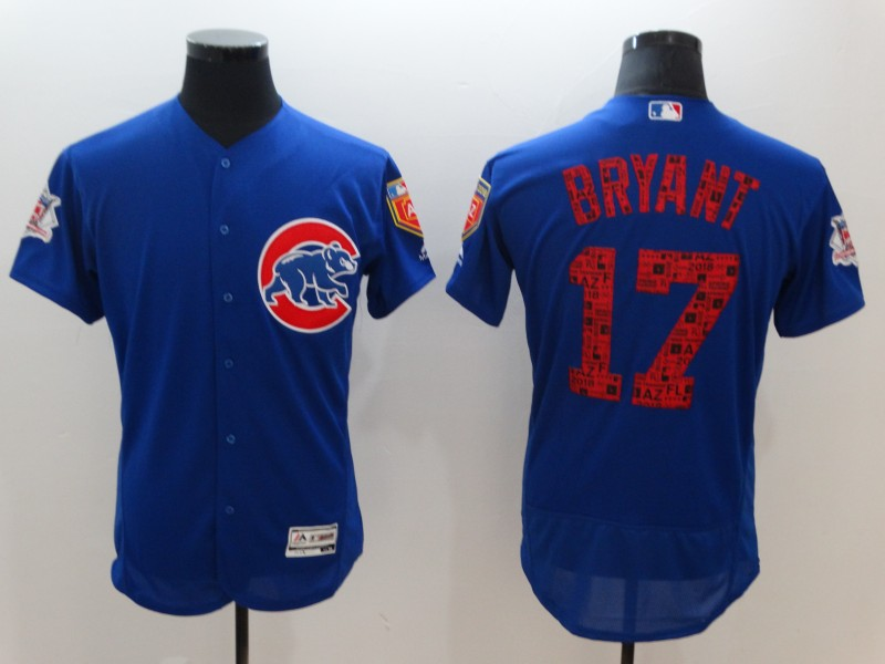 Men's Chicago Cubs #17 Kris Bryant Royal 2018 Spring Training Flexbase Stitched MLB Jersey
