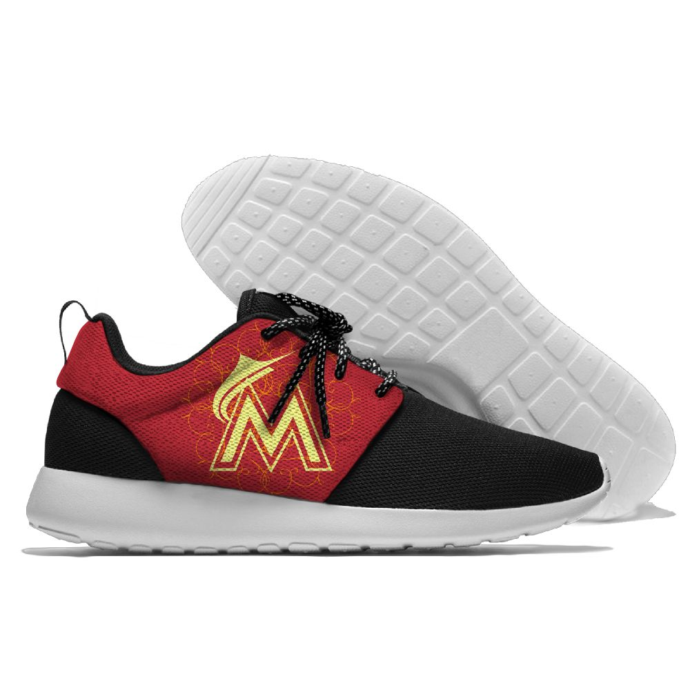 Women's Miami Marlins Roshe Style Lightweight Running MLB Shoes 002