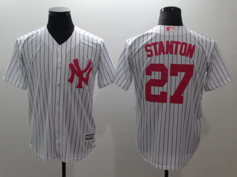 Men's New York Yankees #27 Giancarlo Stanton White Pink Cool Base Stitched MLB Jersey