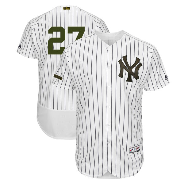 Men's MLB New York Yankees #27 Giancarlo Stanton White Majestic 2018 Memorial Day Authentic Collection Flex Base Stitched Jersey
