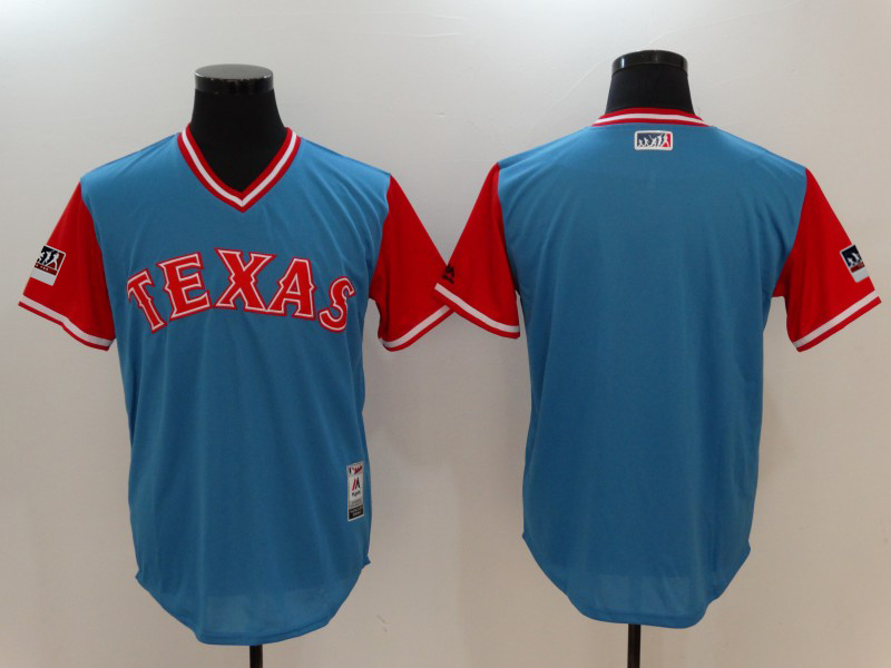 Men's Texas Rangers Majestic Light Blue/Red 2018 Players' Weekend Team Jersey