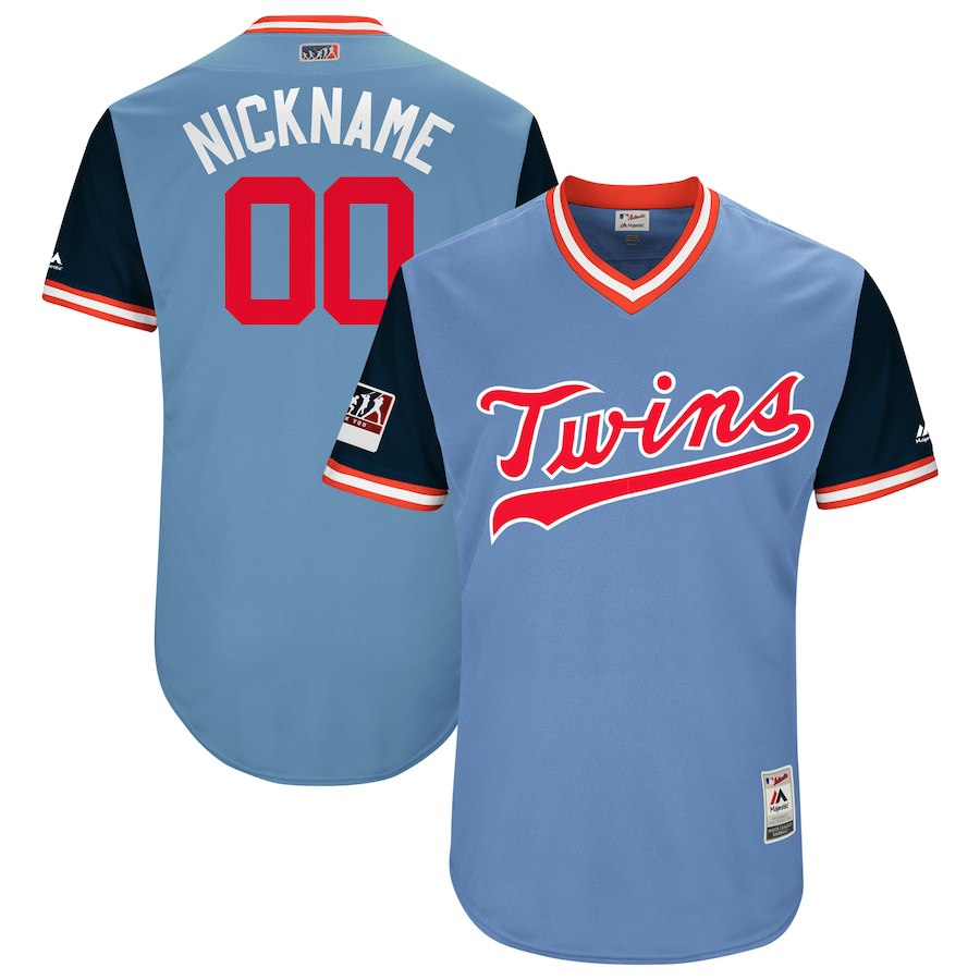 Men's Minnesota Twins Majestic Light Blue/Navy 2018 Players' Weekend Flex Base Pick-A-Player Roster Jersey