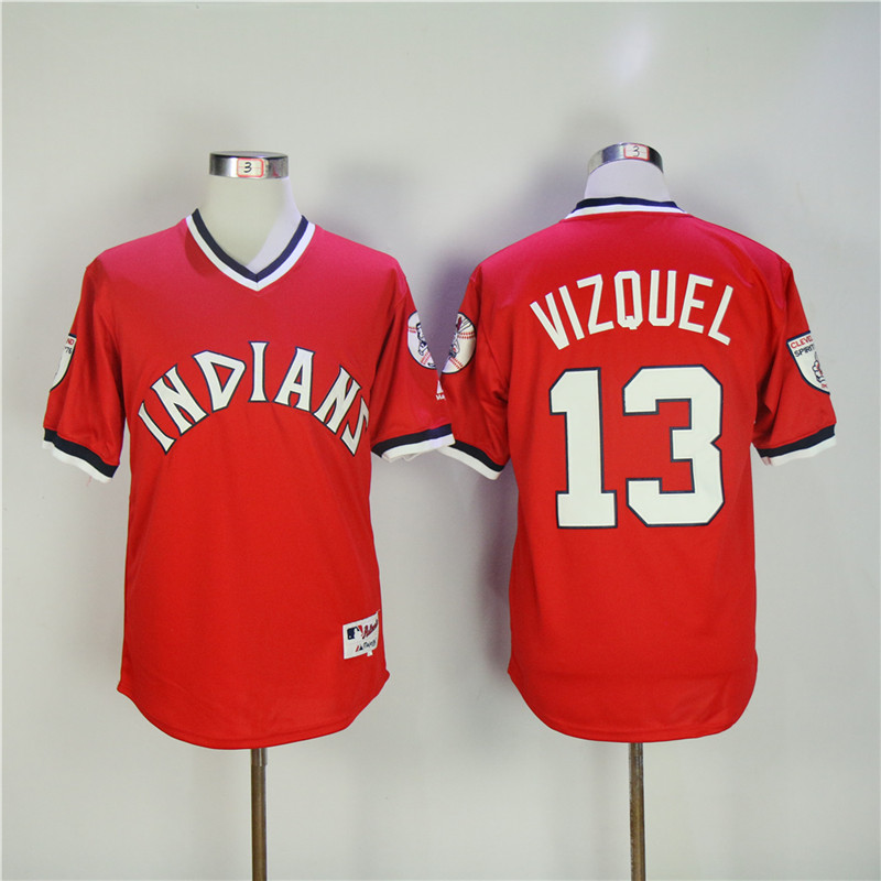 Men's Cleveland Indians #13 Omar Vizquel Red Turn Back The Clock Throwback Stitched MLB Jersey