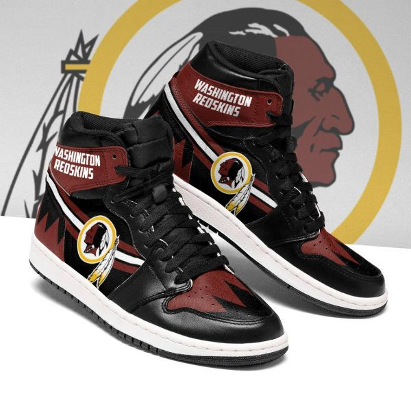 Women's Washington Redskins AJ High Top Leather Sneakers 001