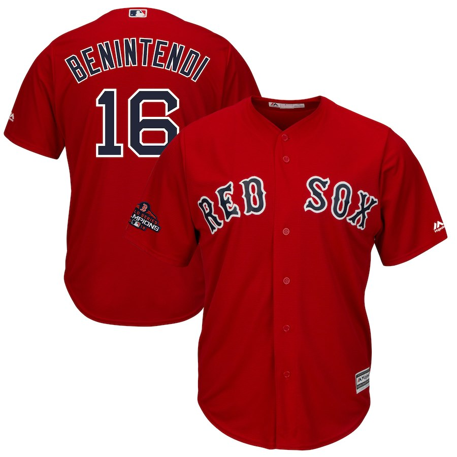 Men's Boston Red Sox #16 Andrew Benintendi Majestic Scarlet 2018 World Series Champions Team Logo Player Stitched MLB Jersey