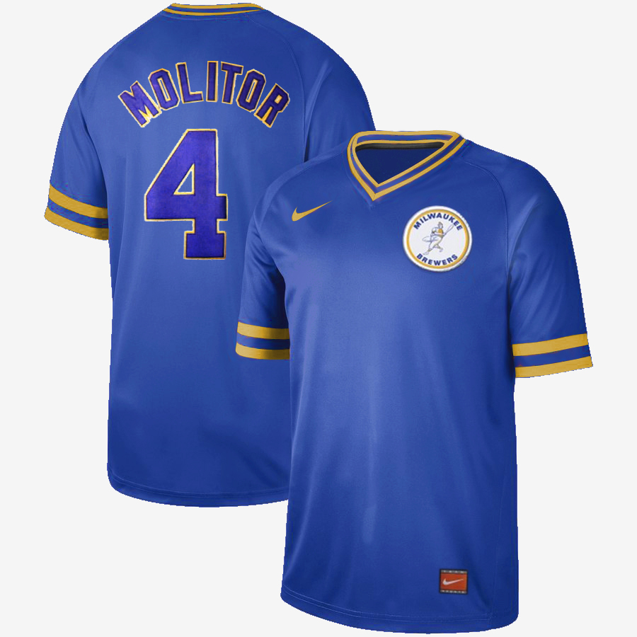 Men's Milwaukee Brewers #4 Paul Molitor Cooperstown Collection Legend Stitched MLB Jersey