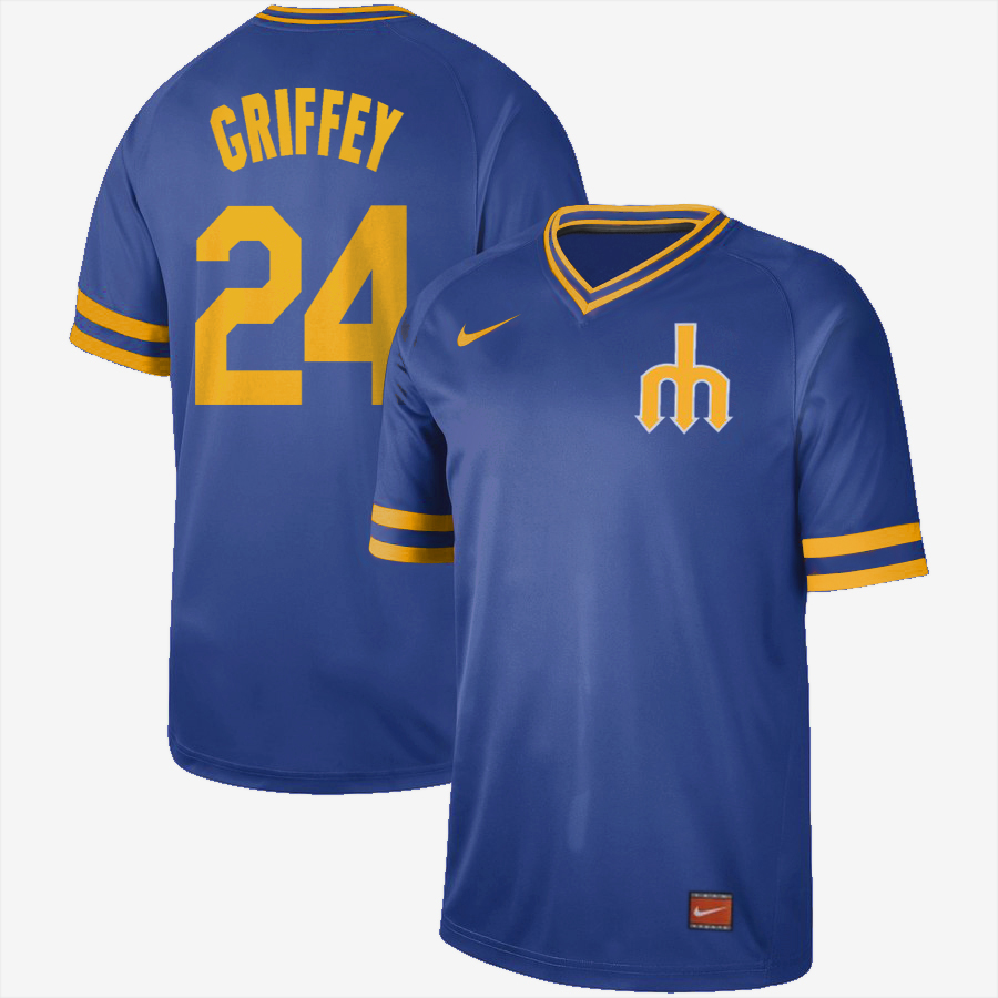 Men's Seattle Mariners #24 Ken Griffey Jr. Blue Cooperstown Collection Legend Stitched MLB Jersey