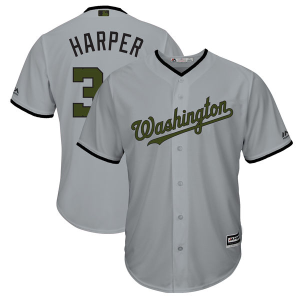 Men's Washington Nationals #34 Bryce Harper Gray 2018 Memorial Day Cool Base Stitched MLB Jersey