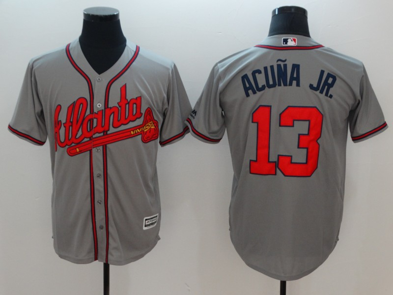 Men's Atlanta Braves #13 Ronald Acuña Jr Grey Flexbase Stitched MLB Jersey