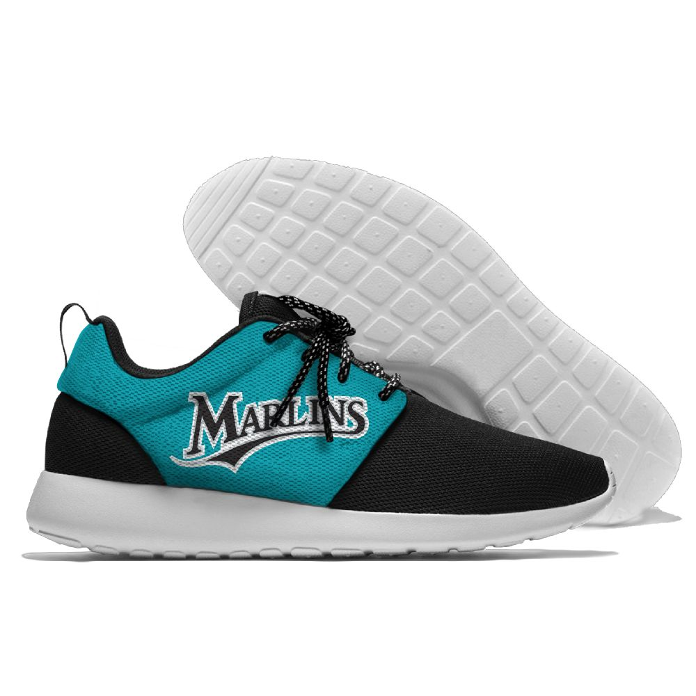 Women's Miami Marlins Roshe Style Lightweight Running MLB Shoes 003