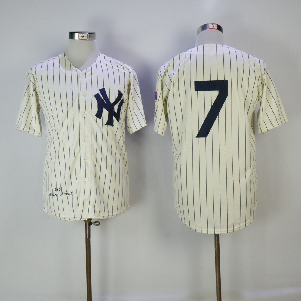 Men's New York Yankees #7 Mickey Mantle Cream 1951 Mitchell & Ness Stitched MLB Jersey