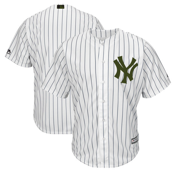Men's MLB New York Yankees White Majestic 2018 Memorial Day Authentic Collection Flex Base Stitched Jersey