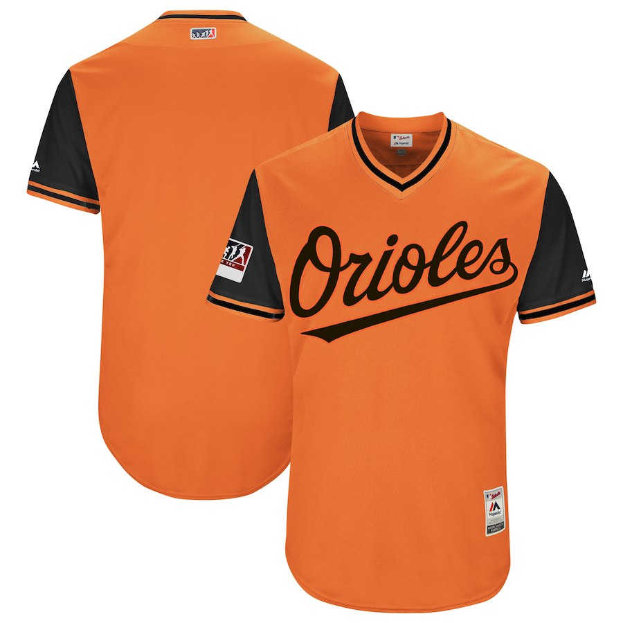Men's Baltimore Orioles Majestic Orange/Black 2018 Players' Weekend Team Jersey