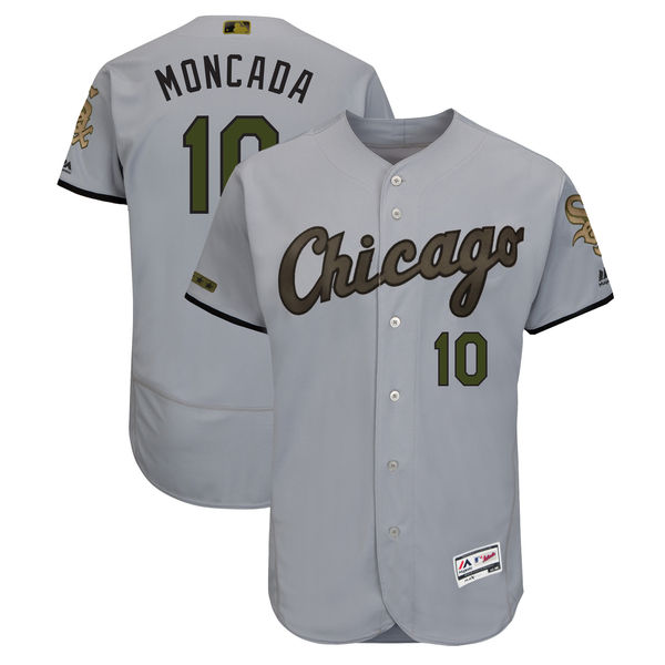 Men's Chicago White Sox #10 Yoan Moncada Gray 2018 Memorial Day Flexbase Stitched MLB Jersey