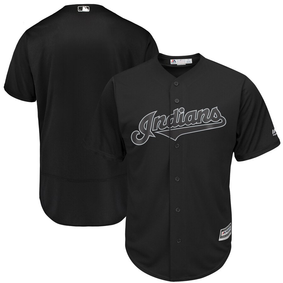 Men's Cleveland Indians Majestic Black 2019 Players' Weekend Team Stitched MLB Jersey