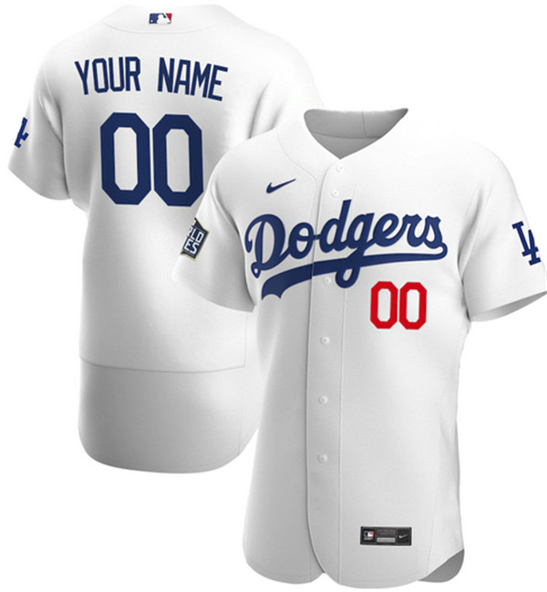 Men's Los Angeles Dodgers Active Player White 2020 World Series Bound Custom Flex Base Stitched Jersey