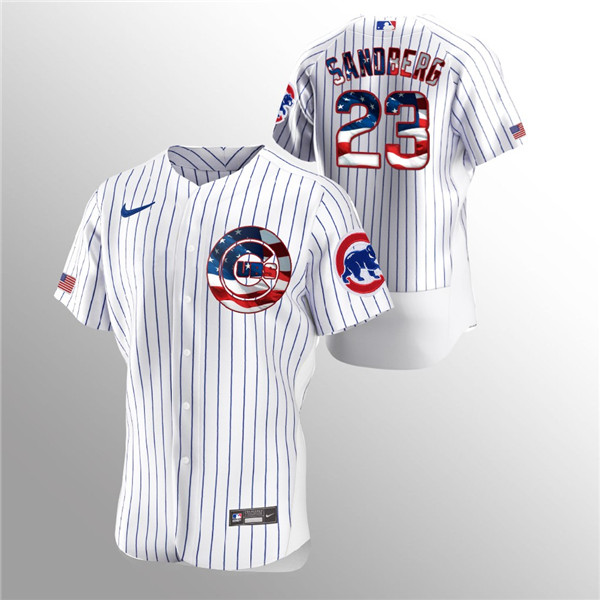 Men's Chicago Cubs White #23 Ryne Sandberg 2020 Stars & Stripes Flex Base Stitched MLB Jersey