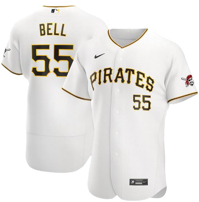 Men's Pittsburgh Pirates White #55 Josh Bell Flex Base Stitched MLB Jersey