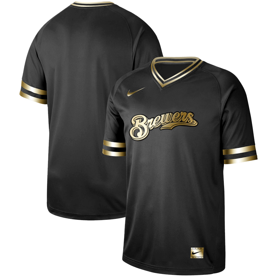 Men's Milwaukee Brewers Black Gold Stitched MLB Jersey