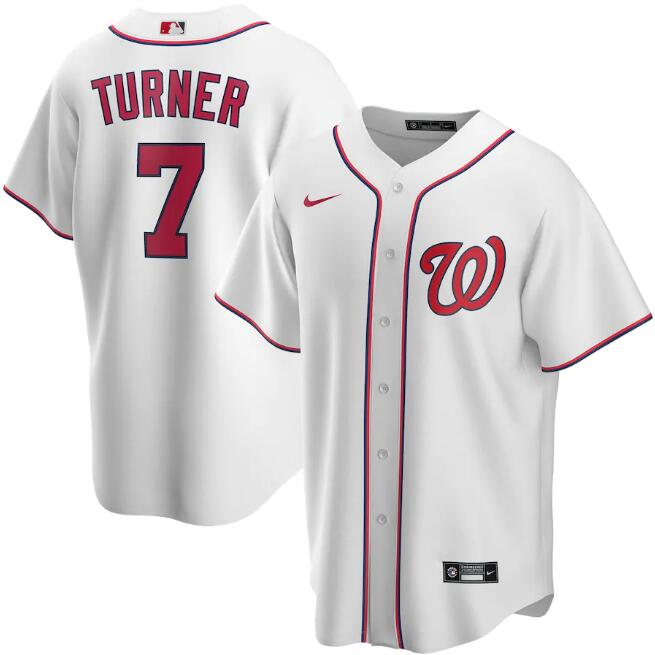 Men's Washington Nationals White #7 Trea Turner Cool Base Stitched MLB Jersey