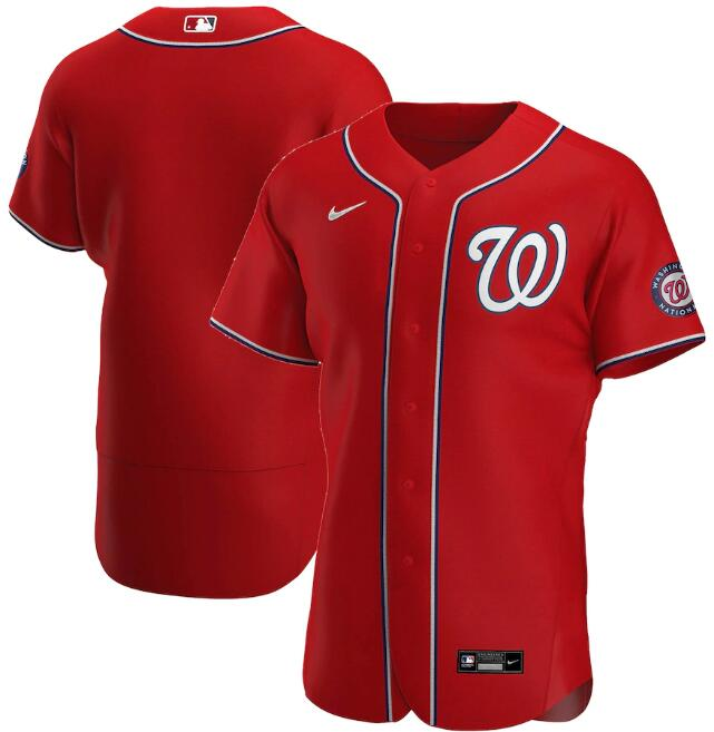 Men's Washington Nationals Red Stitched Flex Base MLB Jersey