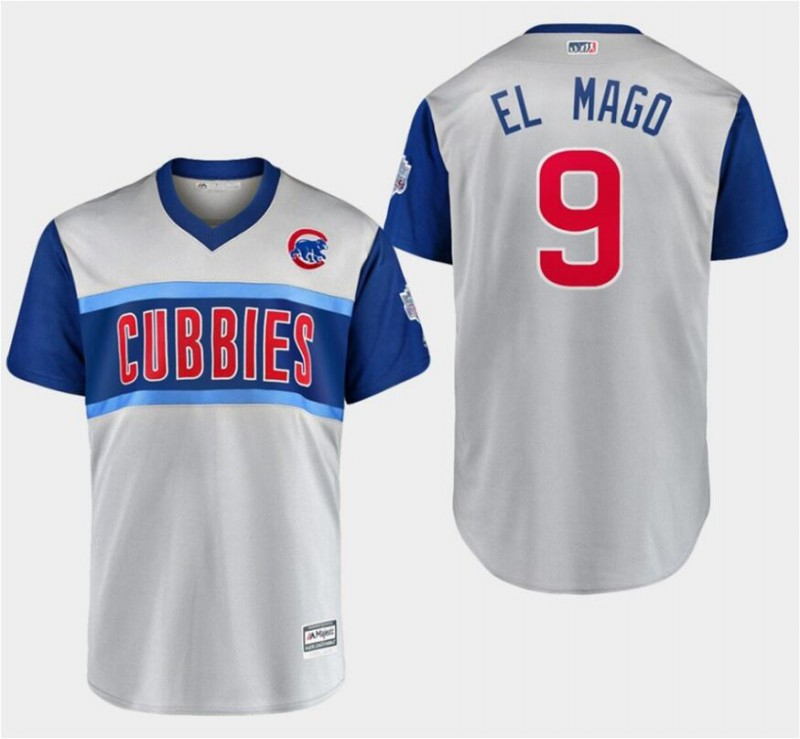 "Men's Chicago Cubs #9 Javier Baez ""El Mago"" Majestic Gray 2019 MLB Little League Classic Stitched MLB Jersey"