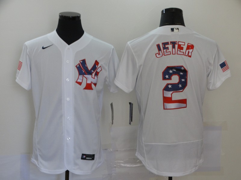 Men's New York Yankees White #2 Derek Jeter 2020 2020 Stars & Stripes Flex Base Stitched MLB Jersey