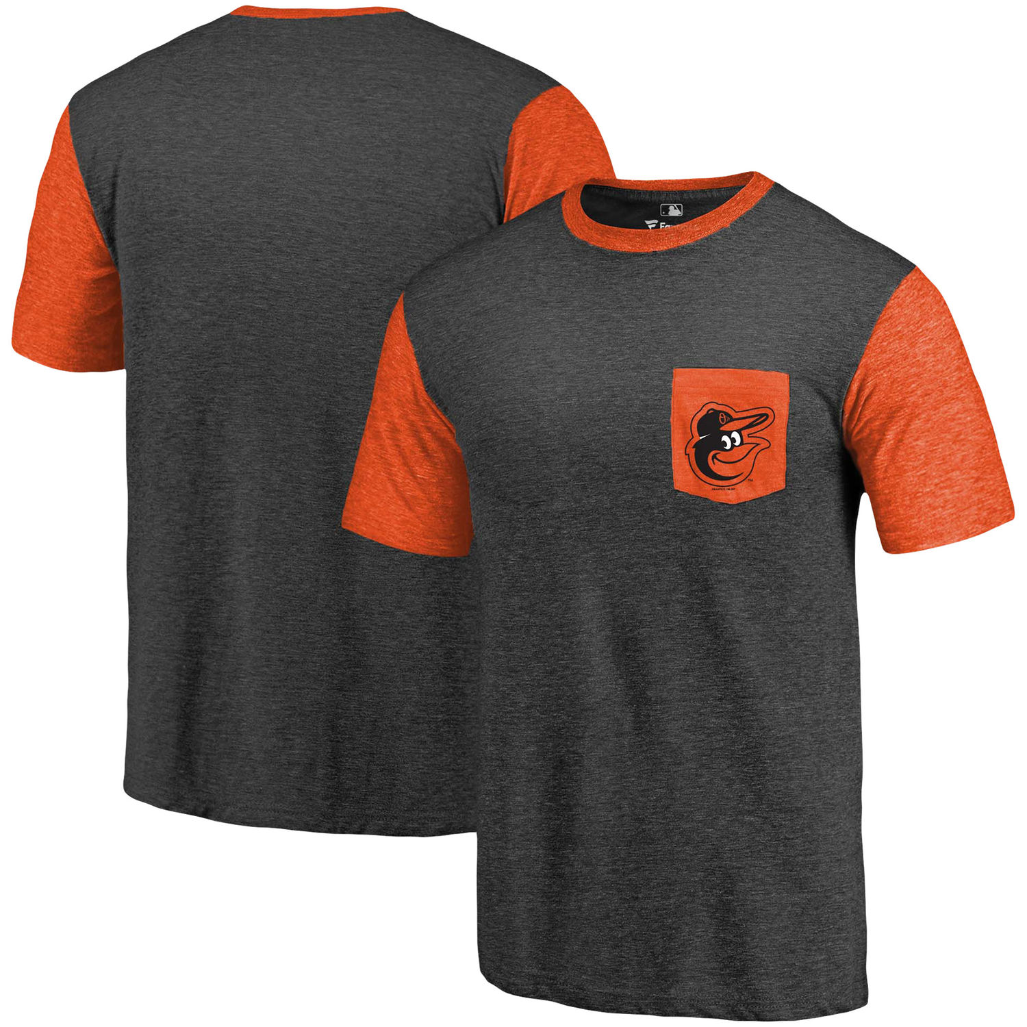 Men's Baltimore Orioles Fanatics Branded Black-Orange Refresh Pocket T-Shirt