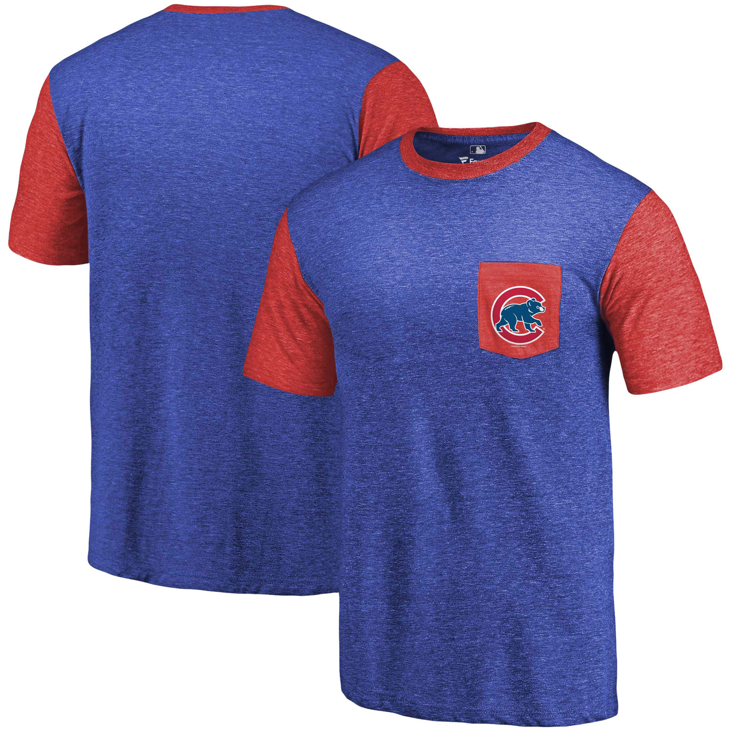 Men's Chicago Cubs Fanatics Branded Royal-Red Refresh Pocket T-Shirt