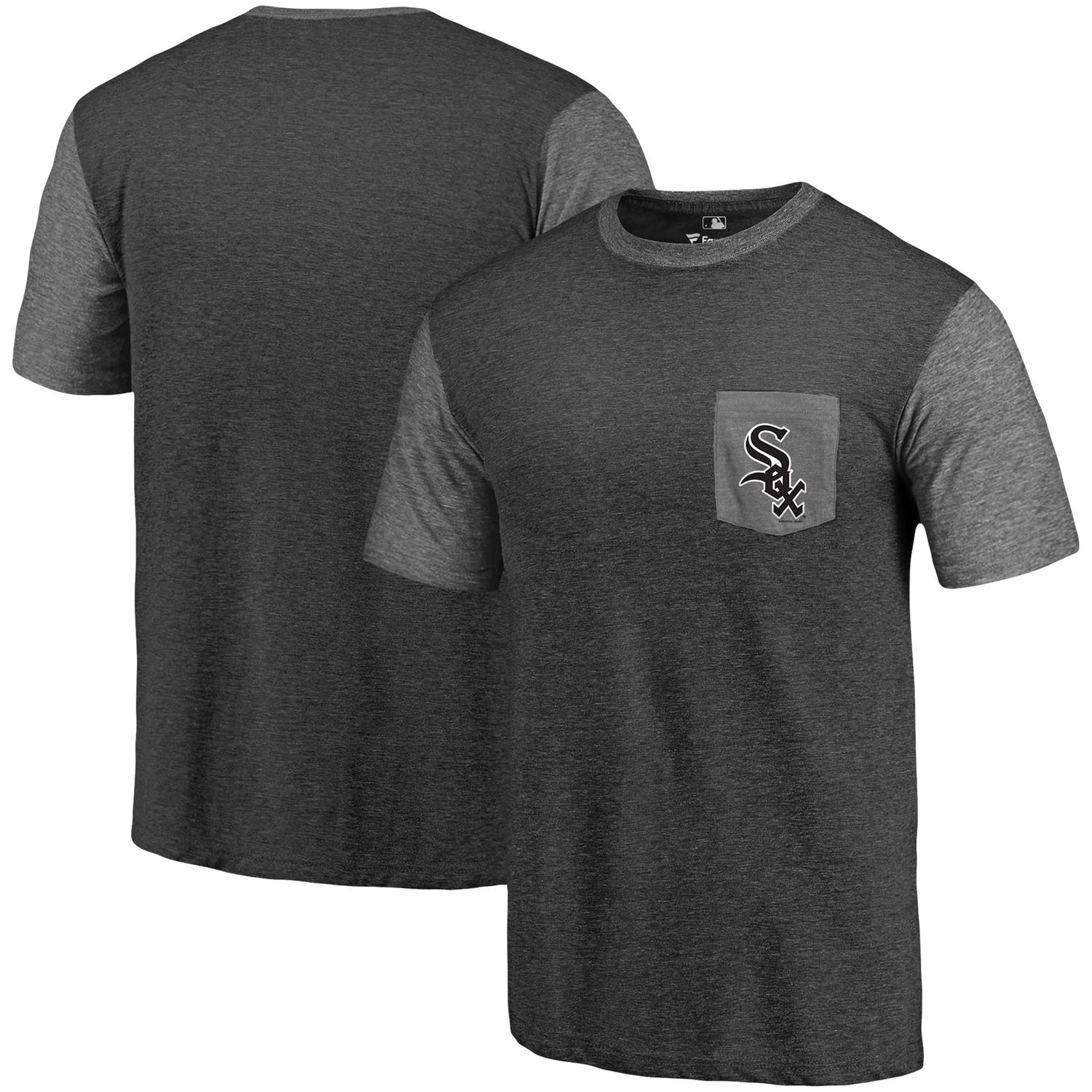 Men's Chicago White Sox Fanatics Branded Black-Heather Gray Refresh Pocket T-Shirt