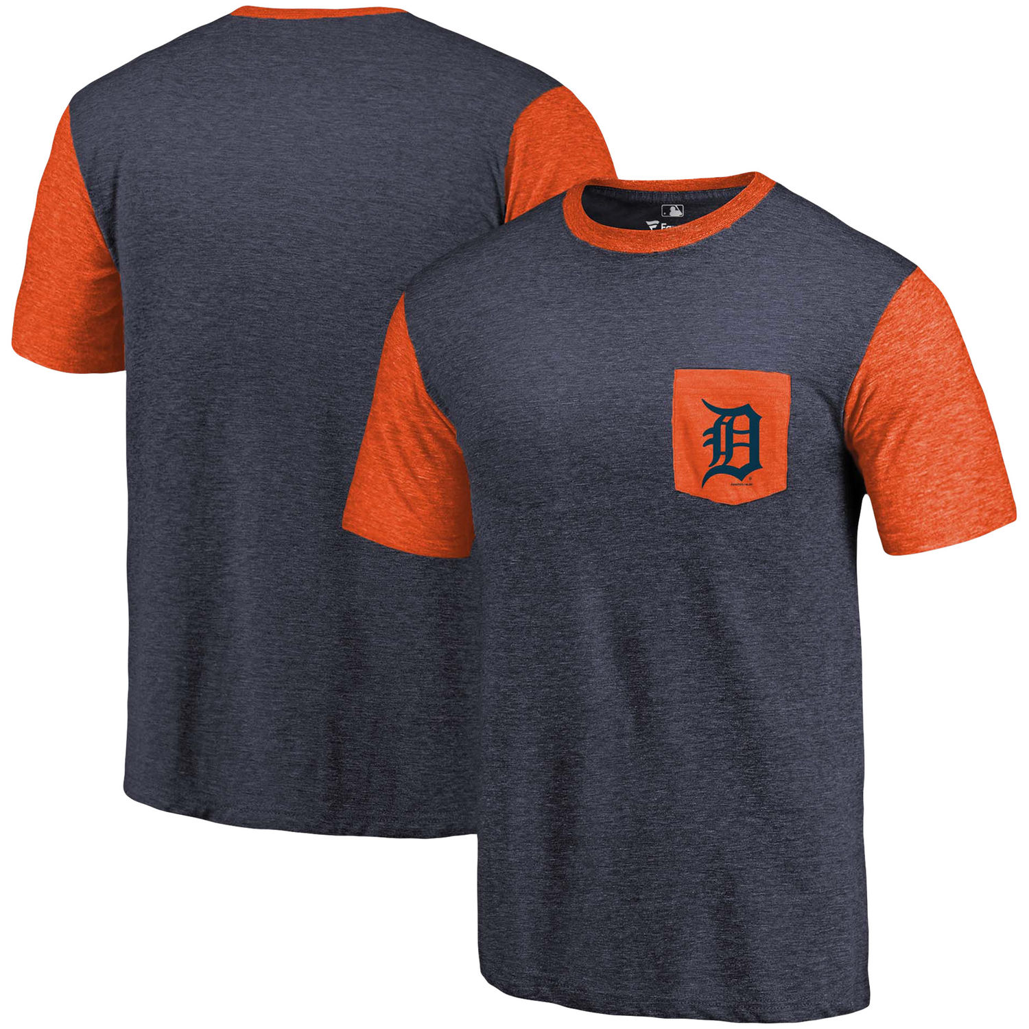 Men's Detroit Tigers Fanatics Branded Navy-Orange Refresh Pocket T-Shirt