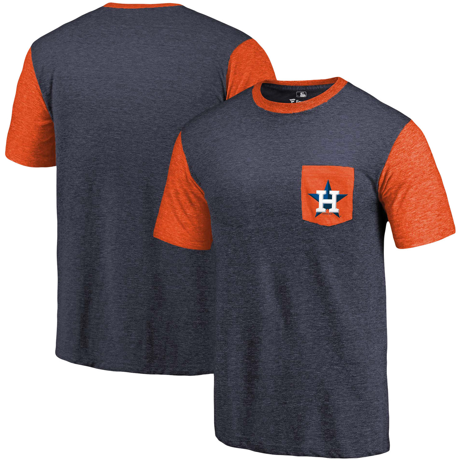 Men's Houston Astros Fanatics Branded Navy-Orange Refresh Pocket T-Shirt