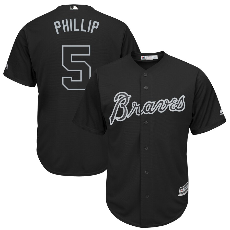 "Men's Atlanta Braves #5 Freddie Freeman ""Phillip"" Majestic Black 2019 Players' Weekend Player Stitched MLB Jersey"