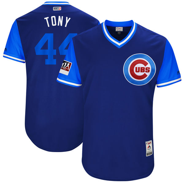 "Men's Chicago Cubs #44 Anthony Rizzo ""Tony"" Majestic Royal/Light Blue 2018 Players' Weekend Jersey"
