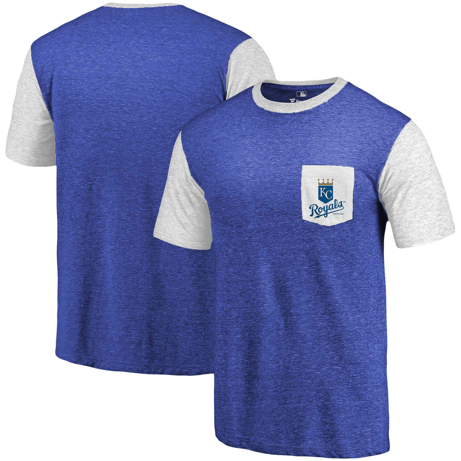 Men's Kansas City Royals Fanatics Branded Royal-White Tri-Blend Refresh Pocket T-Shirt