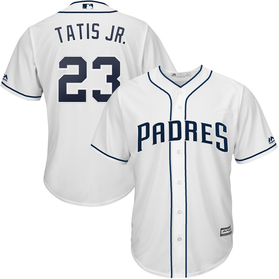 Men's San Diego Padres #23 Fernando Tatis Jr. White Cool Base Stitched MLB Jersey
